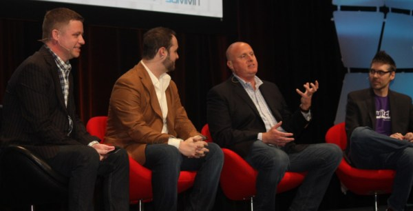 """(From left to right) Jonathan Simpson-Bint sits with Bart Koenigsberg, John Smedley, and Marcus """"djWheat"""" Graham during a livestreaming discussion as part of the GamesBeat's Game Marketing Summit."""