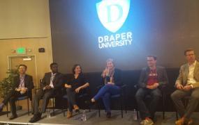 Panelists Andy Tang, Toro Orero, Lauren Feldman, Emily Baum, Torsten Kolind, and Dylan Tweney.