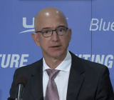 Amazon CEO speaks during a Blue Origin press conference.