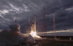 SpaceX's Falcon 9 at launch.