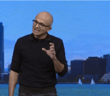 Microsoft chief executive Satya Nadella speaks at Microsoft's Build developer conference in San Francisco on April 30.