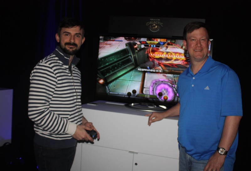 Davide Tabacco (left) of Hibernum Creations and Mark Parrish of Kiz Studios, with their game Trans Galactic Tournament.