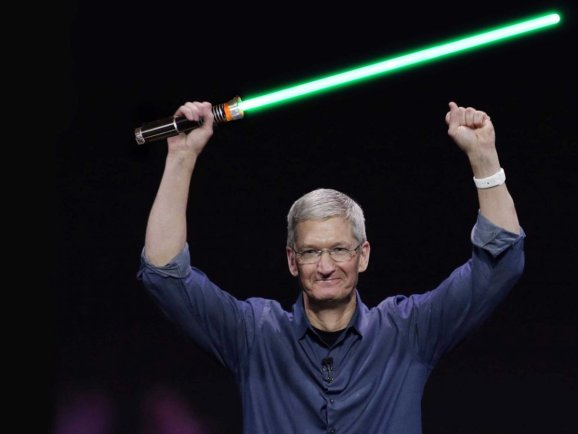 tim-cook-lightsaber-apple-ceo-war-happy-celebrating-good-star-wars