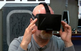 "Jamie Hyneman of ""Mythbusters"" wearing an Oculus Rift on a Tested.com podcast."