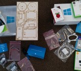 The robot kit and sensor kit Microsoft was giving out after one session at Build on April 30.