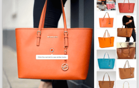 In an experimental Similar Looks feature, Pinterest used deep learning-based visual search to find pinned images of bags similar to the one on the left.