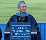 Apple CEO Tim Cook delivers the commencement speech to the 2015 graduating class of George Washington University, in Washington, D.C.