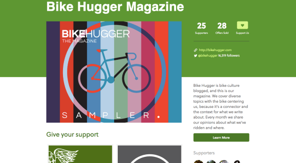 The Bike Hugger Magazine page on Tugboat Yards.
