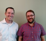 Slack chief marketing officer Bill Macaitis, left, and Slack cofounder and chief technology officer Cal Henderson at the company's San Francisco office on May 12.