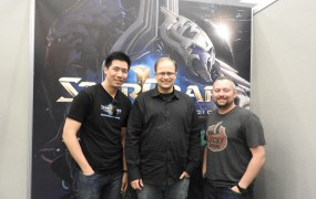 StarCraft II: Legacy of the Void leaders: Rodney Tsing, senior producer; Tim Morten, lead producer; and Jesse Brophy, lead artist.