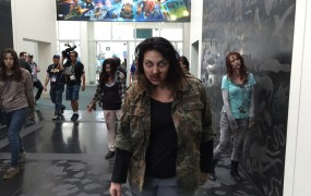 Overkill Software had Walking Dead zombies roaming the hallway.