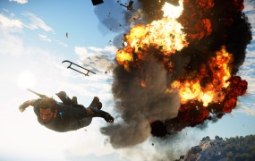 You can really fly away from helicopter explosions with batwings in Just Cause 3.
