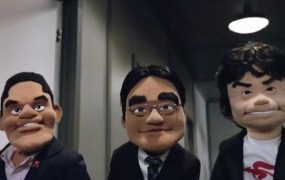 From left: Nintendo COO Reggie Fils-Aime, president and CEO Satoru Iwata, and designer Shigeru Miyamoto in puppet form during the company's digital press event at E3 2015.