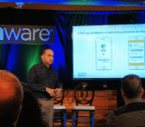 VMware's Sanjay Poonen speaks at a company press event in San Francisco on June 15.
