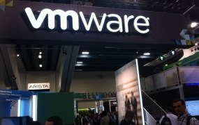 On the exhibition floor at VMware's VMworld conference in San Francisco on Aug. 25, 2014.