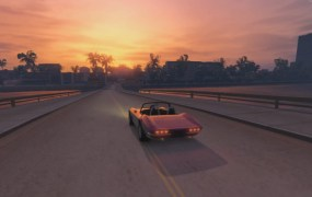 Pink car, pretty sunset. That's Vice City.