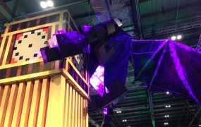 An Ender Dragon wrapped around Big Ben in the Minecon 2015 exhibit hall.