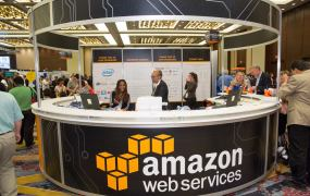 The Amazon Web Services booth at the AWS Public Sector Symposium 2015 conference.