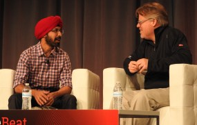 Punit Soni, chief product officer of Flipkart, left, speaks to Rackspace's Robert Scoble at VentureBeat's 2015 MobileBeat conference in San Francisco on July 14.
