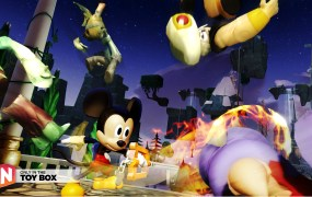 Mickey Mouse uses the keyblade in Toy Box mode.