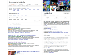 "Reviews of ""Inside Out"" are on the right. This sort of content will show up in Google search results across devices later this year."