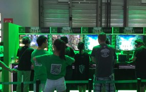 Microsoft's Xbox One booth was decked out in green at ChinaJoy.