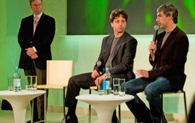 Then-CEO, now Chairman of Google Eric Schmidt with Sergey Brin and Larry Page (left to right) in 2008.