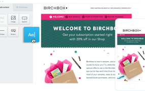 A Birchbox transactional email being built in Campaign Monitor.