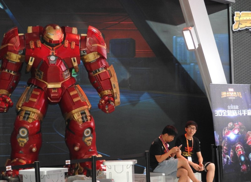 Marvel: Contest of Champions Iron Man character at ChinaJoy.
