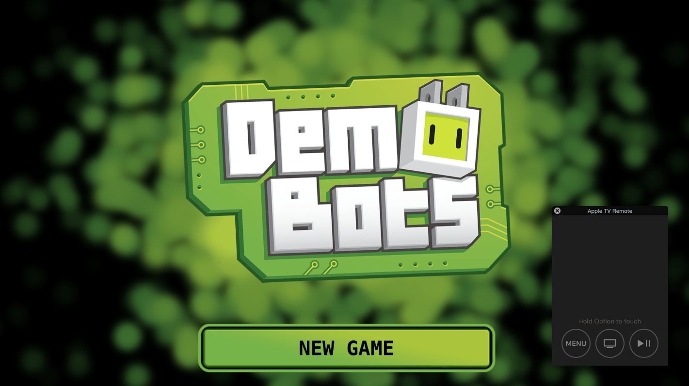 DemoBots in the Apple TV simulator in Xcode.