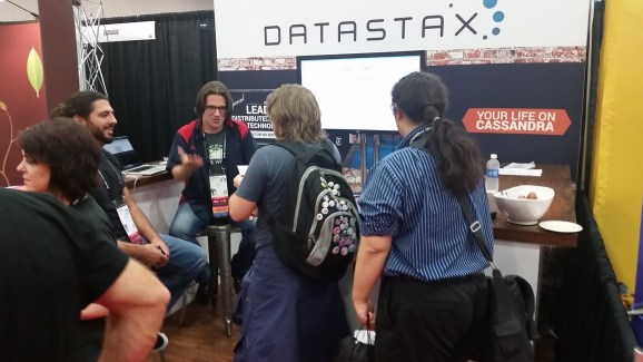 The DataStax booth at OSCON 2014 in Portland, Ore.