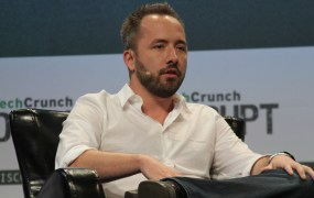Dropbox chief executive Drew Houston speaking on stage at the TechCrunch Disrupt conference on September 21, 2015.