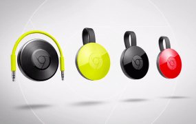 The Chromecast Audio, left, and the new Chromecast 2 models.