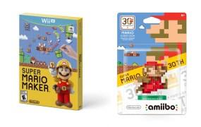 Super Mario Maker and the Classic Color Mario Amiibo.