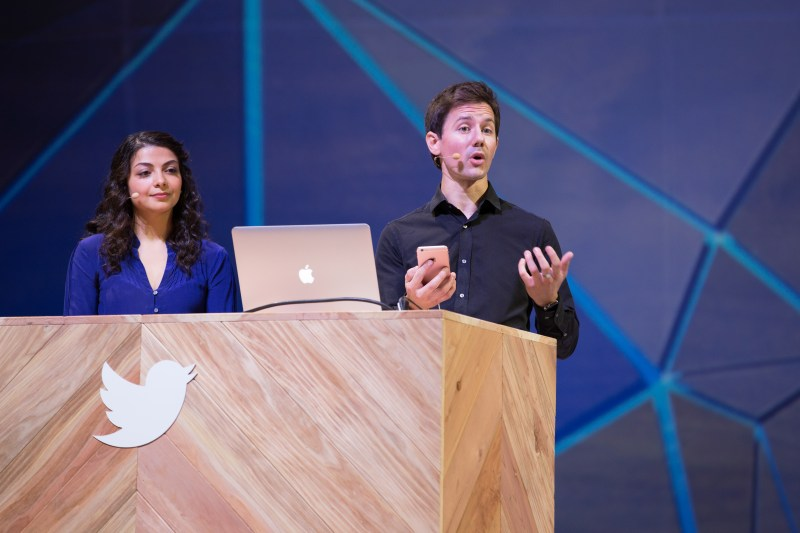 Twitter developer advocates Bear Douglas and Romain Huet demo on stage at the Flight conference on October 21, 2015 at the Bill Graham Civic Auditorium in San Francisco, Calif.
