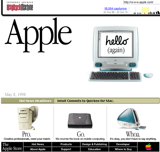 Apple Homepage 1998