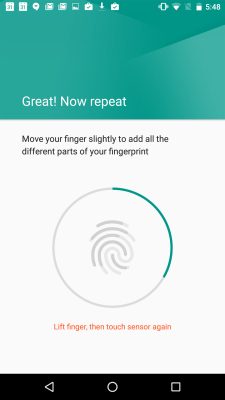 Setting up the Nexus 5X's fingerprint scanner.