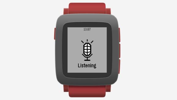 A Pebble smartwatch is listening.