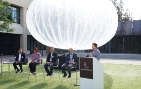 From left, Telkomsel's Ririek Adriansyah, XL Axiata's Dian Siswarini, Indosat's Alexander Rusli,  Google Project Loon's Mike Cassidy, and Alphabet president (and Google cofounder) Sergey Brin.