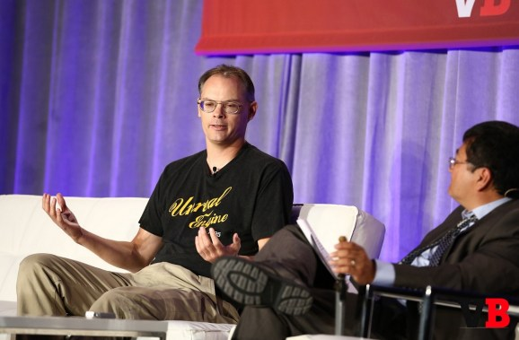Tim Sweeney, the CEO of Epic Games, on stage at GamesBeat 2015 with Dean Takahashi.