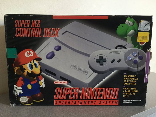 A later reissue of the SNES hardware with a redesigned case.