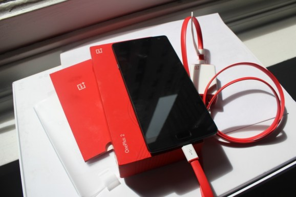 The OnePlus 2 and the OnePlus USB Type-C cable.
