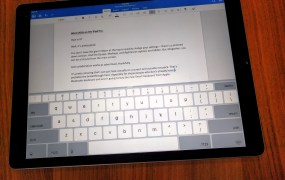 Microsoft Word 2016 running on the iPad Pro.
