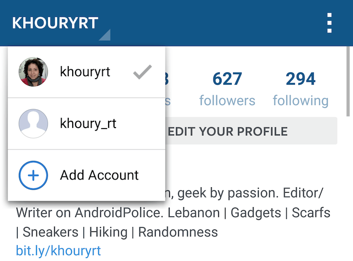 Screenshot of Instagram for Android displaying multiple accounts.