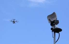 A drone is seen next to a television antenna in Pinecrest, Florida September 2, 2014.