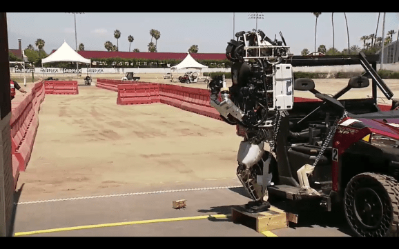 The TRAC Labs robot participates in the DARPA Robotics Challenge in Pomona, California, on June 6.