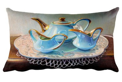 art gifts pillow blue teapot set veronica winters