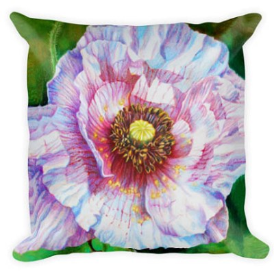 unique gifts pillow white poppy colored pencil