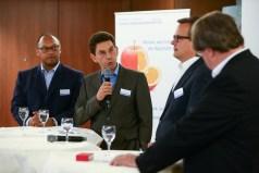 Andreas Berger (AGCS), Gregor Köhler (Berkshire Hathaway Specialty Insurance), Bernd Knof (Aon Deutschland) und Moderator Herbert Fromme