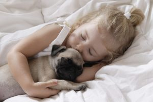 Kids with pets caring